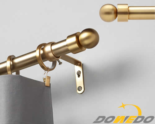 Decorative Window Curtain Rod Ball Caps In Brushed Brass